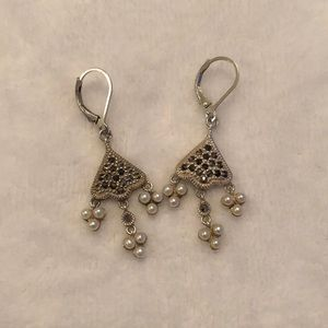 Jewelry - Sterling Silver Sparkly Earrings with Pearl Accent